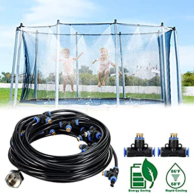 Trampoline Sprinkler Outdoor 50 FT 12 Nozzles Brass Misting Cooling System Kit Waterpark Summer Game Toys Accessories for Kids and Adults in Patio Garden Swimming Pool Irrigation Kit(50FT/15M)