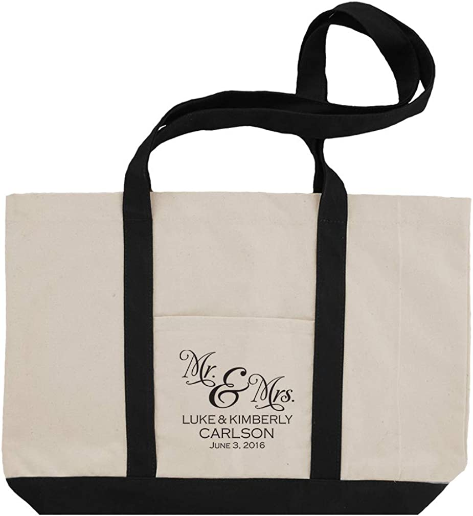 Personalized Custom Text Wedding Mr & Mrs Couple Cotton Canvas Boat Tote Bag Tote - Black