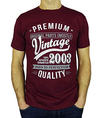 My Generation Gifts Vintage Year - Aged to Perfection - 18 Cumpleaños Años - Regalo de Cumpleaños Camiseta para Hombre - Borgoña M