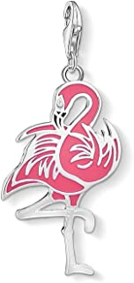 EVESCITY 925 Sterling Silver Gorgeous Many Style Lobster Clasp Charm Clip on Pendant Bead for Necklaces & Chain Link Bracelets (Flamingo Pink Red)