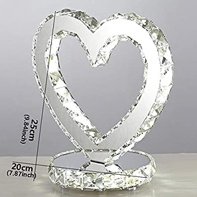 Lámpara de mesa lámpara Cristal en forma de corazón LED lámpara de mesa lámpara moderna LED ajustable lámpara de cabecera de estilo europeo Dormitorio Sala de decoración de interior Lámparas de bajo c