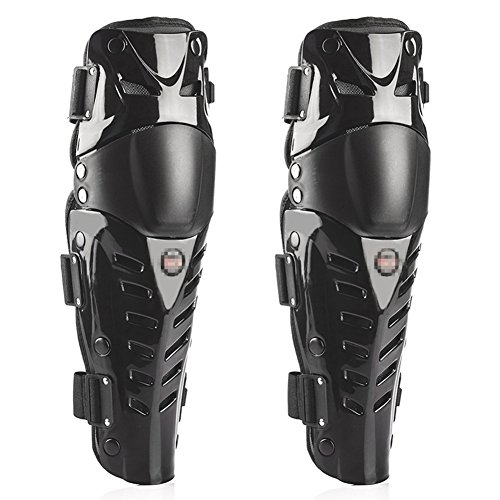 Baselay 1 Pair of Motorcycle Knee Shin Guard Pads Three Sections Breathable Adjustable Knee Cap Pads Protector Gear Armor for Adults Motorcycle Cycling Racing (Black)