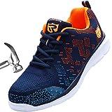 LARNMERN Zapatos de Seguridad Hombre Cómodas,LM180112 SBP Zapatillas de Trabajo con Punta de Acero Ultraligero Transpirables(41 EU,Naranja Azul)