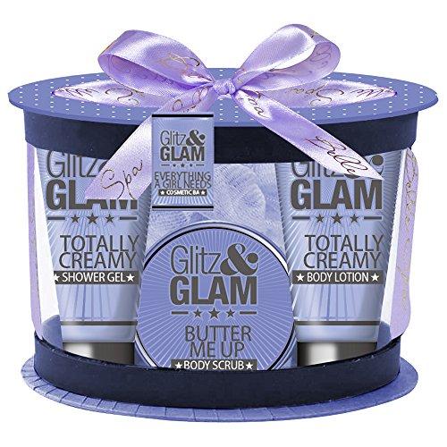 Coffret cadeau pour femme - Boîte de bain incluant une fleur de massage- Collection Glitz and Glam - Lavande