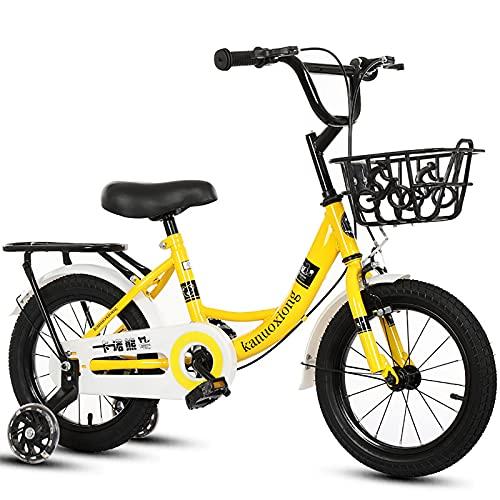CKCL Bicicleta para Niños Niños Niñas Bicicleta De Estilo Libre, 12 14 16 18 20 Pulgadas con Ruedas De Entrenamiento Flash con Asiento Trasero Y Canasta para Niños De 2 a 15 Años,Amarillo,12inches