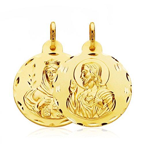 Virgen del Carmen y Corazón de Jesús 18 Ktes 22 mm
