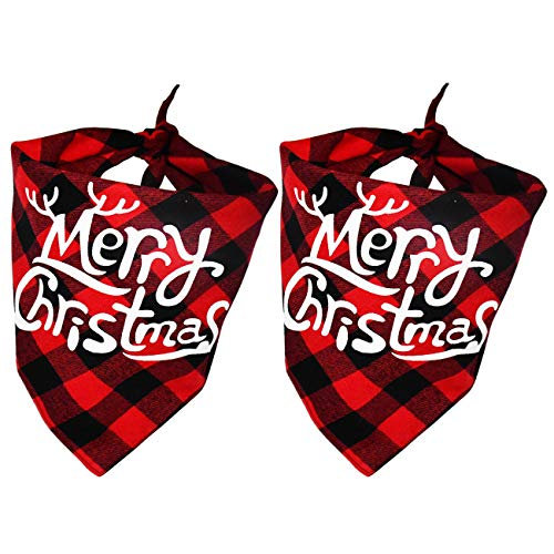 Malier 2 Pack Dog Bandana Christmas Classic Buffalo Plaid Pets Scarf Triangle Bibs Kerchief Set Pet Costume Accessories Decoration for Small Medium Large Dogs Cats Pets (red and red)