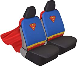 Superhero Seat Covers with Detachable Cape Backing - Front Car Seat Covers & Seat Back Protector (Superman)