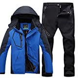 Qitun Hombre de Trekking Impermeable Deportivos Transpirable Pantalones Chaqueta de Esquí Impermeable Chaqueta de Nieve Excursionismo Conjunto CaiAzul B L