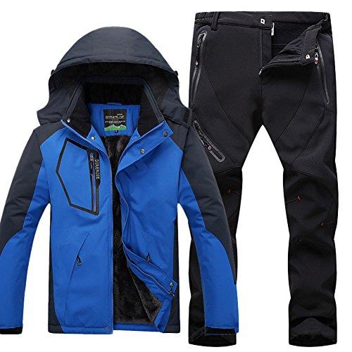 Qitun Hombre de Trekking Impermeable Deportivos Transpirable Pantalones Chaqueta de Esquí Impermeable Chaqueta de Nieve Excursionismo Conjunto CaiAzul B M