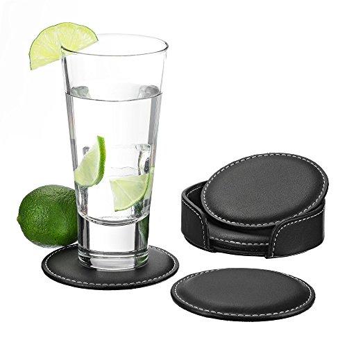 GranFore Leder Glasuntersetzer - 4er Set Glas Untersetzer zum Schutz von empfindlichen Oberflächen - Tassenuntersetzer inklusive Aufbewahrungbox - Tischuntersetzer für Gläser - Getränkeuntersetzer