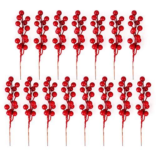 Xiangmall Weihnachten Rote Beeren Deko Künstliche Veeren für Weihnachtsbaum Dekorationen Blumen Kranz DIY Handwerk Gebrauch (15 PCS)