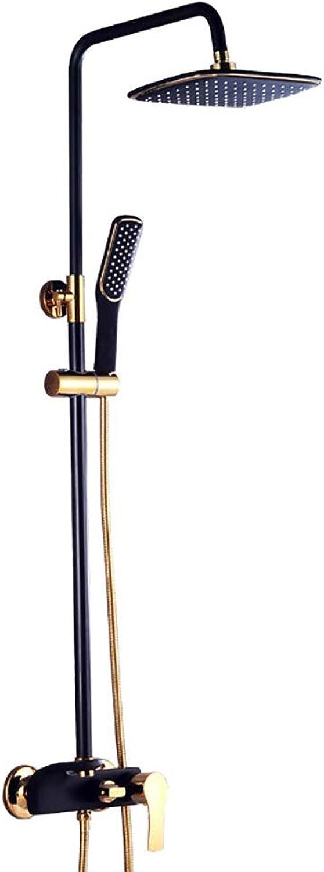 RENKK Messing-Duschsystem, Duschkopf-Duschset zum Anheben und Einstellen, Wand-Duschset mit Regenduschkopf,schwarz