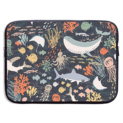 Waterproof Laptop Sleeve 13 Inch, Marine Sea Animals Business Briefcase Protective Bag, Computer Case Cover for Ultrabook, MacBook Pro, MacBook Air, Asus, Samsung, Sony, Notebook
