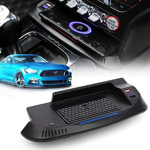 SDGH Cargador inalámbrico de automóviles FIT FOR Ford Mustang 2015 2016 2017 2018 2019, 3 bobinas Qi Pad de Carga inalámbrica, Dispositivo de Carga inalámbrico QC 3.0 Puerto USB 36W