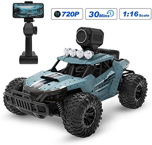 L&WB Ferngesteuertes Auto RC Auto Mit Kamera 720P 2.4Ghz Funkfernsteuerung Hohe Geschwindigkeit Geländewagen 1:16 Fernbedienung Racing Rennauto Spielzeug,Für Erwachsene Und Kinder