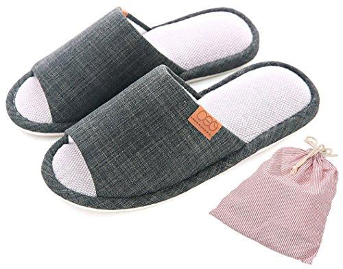 Happy Lily - Pantuflas antideslizantes para hombre/mujer, zapatillas de algodón y lino...