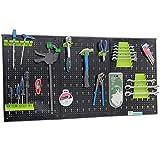TrutzHolm® Werkzeugwand aus Metall mit 17 teilge Hakenset Werkzeuglochwand 120 x 60 x 2,5 cm...