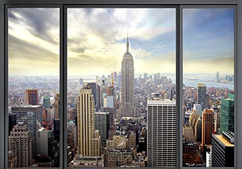 decomonkey Fototapete New York Stadt City 300x210 cm XXL Design Tapete Fototapeten Vlies Tapeten Vliestapete Wandtapete moderne Wand Schlafzimmer Wohnzimmer Fensterblick