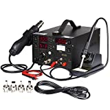 Flexzion Rework Soldering Station Hot Air Gun Solder Iron SMD Dc Power Supply Digital 3In1 Kit 853D Welder Welding Repairing Tool with 3 Led Display 4 Nozzles Analog Meter Probe Cable