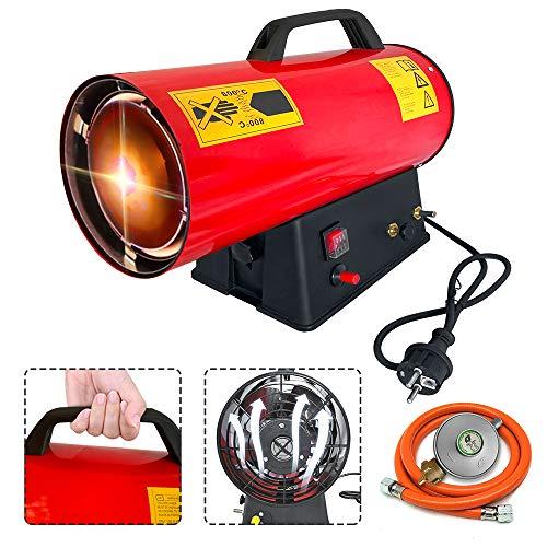 HENGMEI 15KW Gasheizgebläse mit Tragegriff und Schlauch, Gas Heizgerät aus Edelstahl mit Druckregler, Überhitzungsschutz, für Werkstätten Baustellen Belüfteten (Rot)