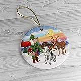 Adorno de árbol de Navidad para árbol de Navidad Qurantine 2020 Papá Noel da su puntero alemán de pe...