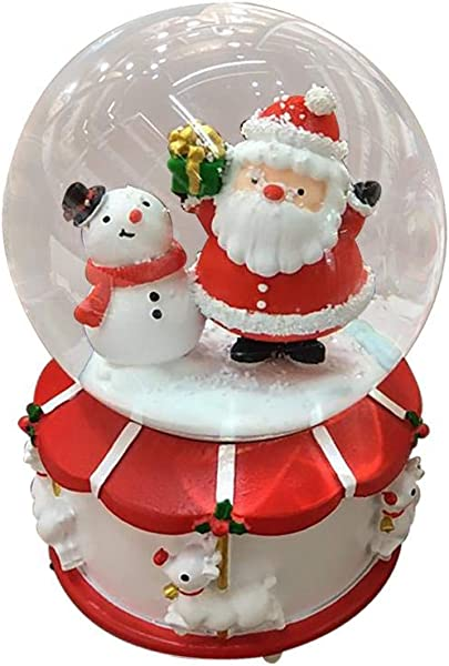 Topaty Christmas Crystal Ball Santa Claus Snowman House Music Box Creative Automatic Snowflake Rotating Music Boxes Home Decor Ornament Great Gift For Kids