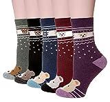 Velice Women's Winter Wool Socks Soft Warm Cozy Thickened Crew Causul Socks 5 Pairs (Bear 2)