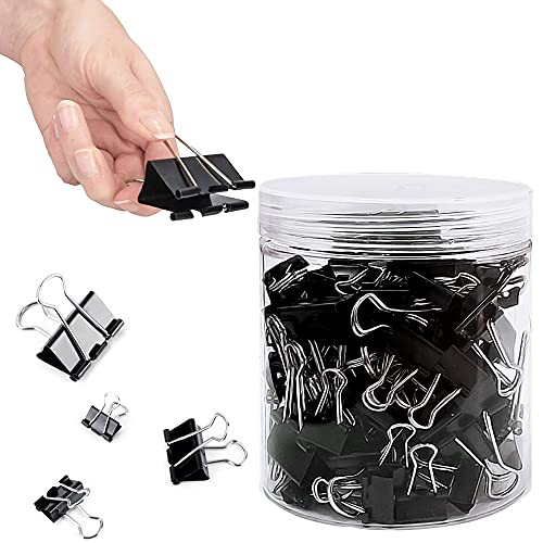 Schwarze Foldback Klammern, 100 Stück 4 Größen Metall Büroklammern Binder Clip, Briefpapier Clips Vielzweckklammern 15mm 19mm 25mm 32mm