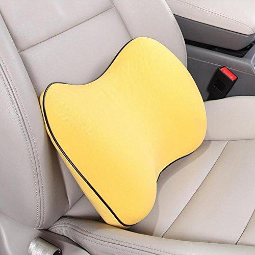 MIAO Car Back Pijnkussen - Speciaal ontworpen voor maximale Lumbale ondersteuning en rugpijn verlichting voor computer/bureaustoel, autostoel, ligstoel enz, geel