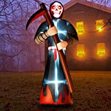 Rocinha Halloween Inflatables Grim Reaper with Glowing Red Eyes, 8Ft Blow up Death Halloween Decorations for Outdoor Party Yard Garden Lawn (Built-in LED Lights)