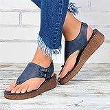 GHJUH Verano Mujeres Sandalias Cuña Sandalias Moda T Correa Sandalia Comodidad Comfort Toe Sandalias de Cuero...