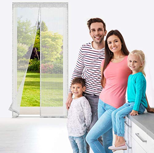 "Cyttengo Magnetic Screen Door with 32 Magnets and Heavy Duty Fiberglass Mesh Curtain,Full Frame Hook & Loop Fits Door Size up to 39""W x 82""H, Dogs Pets Friendly Door Screen White"