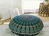 Popular Handicrafts Kp834 Large Hippie Mandala Floor Pillow Cover - Cushion Cover - Pouf Cover Round Bohemian Yoga Decor Floor Cushion Case- 32' Blue Tarqouish