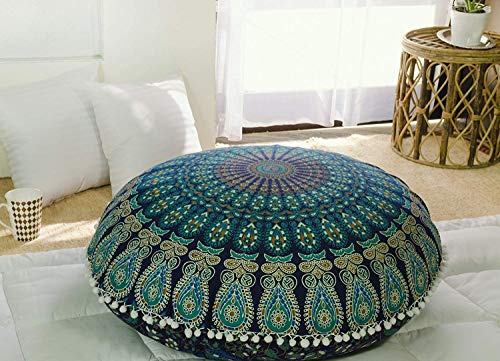 Popular Handicrafts Kp834 Large Hippie Mandala Floor Pillow Cover - Cushion Cover - Pouf Cover Round Bohemian Yoga Decor Floor Cushion Case- 32' Blue Tarqouish