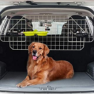 BINGPET Dog Car Barrier for SUV Cars and Vehicles, Heavy Duty Adjustable Wire Barrier Pet with Suspended Bowl