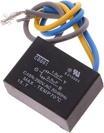 60Hz Kondensator f/ür Deckenventilator Schwarz CBB61 1.5uF Bogji 2.5uF 3 Dr/ähte AC 250V 50