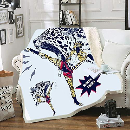 BEDSERG Tirar Las Mantas Gruesas para Adultos niños Leopardo Animal de Kung fu Blanco y Negro Manta Polar Super Suave Colcha Sherpa Manta para la Cama y sofá 150x200cm