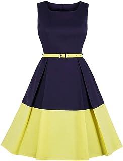 Wellwits - Cintura da donna, stile vintage anni '40, colore: Blocchi di colore