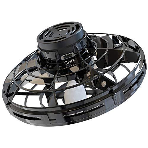Abree Flying Toys para Adultos y niños con Carga USB Mini UFO Drone Spinner Manual con Luces LED RGB giratorias y Brillantes de 360 ° (Black)