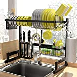 ADBIU Over The Sink (24'- 32.5' L) Dish Drying Rack (Expandable Dimension) Snap-On Design 2 Tier Kitchen Large Dish Drainer Stainless Steel Counter Storage Organizer
