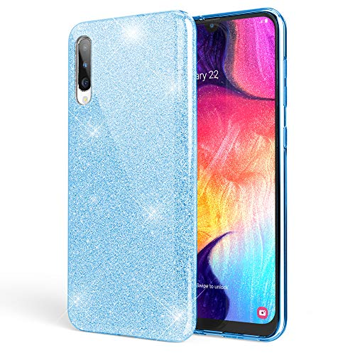 NALIA Glitter Case Compatible with Samsung Galaxy A50, Diamond Cover Slim Protective Rugged Silicone Phone Skin, Ultra Thin Sparkle Mobile Protector Bling Shockproof Bumper Rubber Back, Color:Cyan