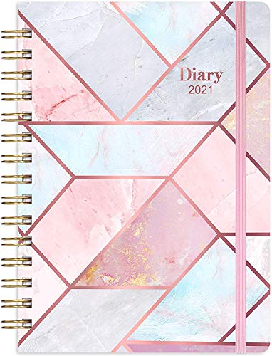 2021 Diary A5 Week to View, Diary 2021 with Flexible Hardcover, Strong Twin- Wire Binding, 12 Monthly Tabs, Inner Pocket, Elastic Closure