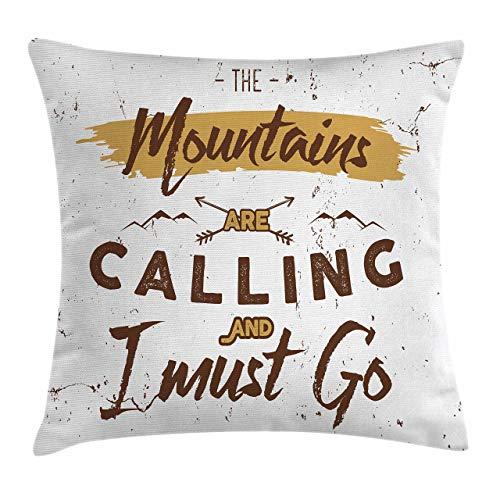 Funda de Cojine,Throw Cojín Aventura Las montañas están llamando palabras Viajar al aire libre Café grunge inspirador 45CM X 45CM