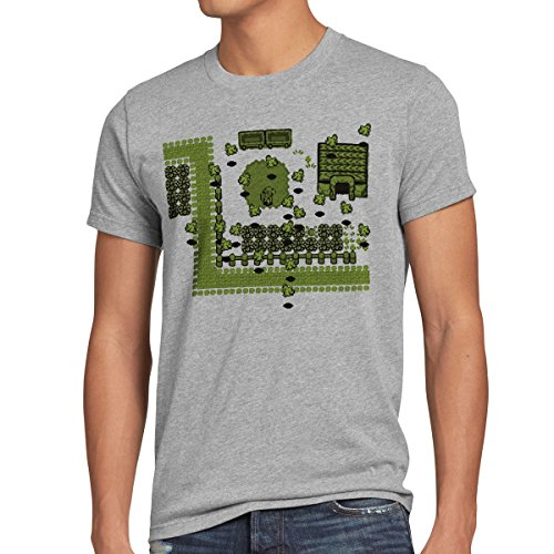 style3 Link Retro Gamer T-Shirt Herren, Farbe:Grau meliert, Größe:4XL