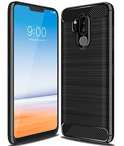 LG G7 Case, LG G7 ThinQ Case, UCC Frosted Shield Luxury Slim TPU Bumper Cover Carbon Fiber Design and Anti-Scratch and Non-Slip Case Cover for LG G7 (Black)
