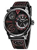 Alienwork Herren-Armbanduhr Quarz schwarz mit Lederarmband Kalender Datum Multi Zeitzonen XL Über-große