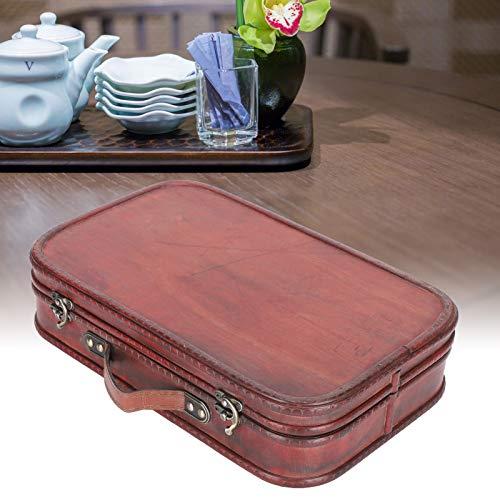 Maleta retro, bolsa de equipaje de mano, accesorios para fotografía de estudio fotográfico, hecha de madera + piel sintética, diseño de asa portátil, diseño de doble capa, gran capacidad de carga