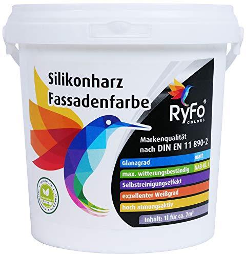 RyFo Colors Silikonharz Fassadenfarbe 1l (Größe wählbar) - hochwertige Silikonharzfassadenfarbe, weiß, Außen-Farbe-Dispersion, wasserabweisend, Abperleffekt, Wetterschutz, hohe Deckkraft