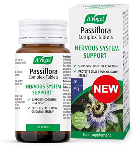 A.Vogel Passiflora Complex Tablets | Extracts of Passion Flower, Valerian Root & Lemon Balm, Magnesium for Nervous System Support & Zinc to Protect Cells from Oxidative Stress | 30 Tablets